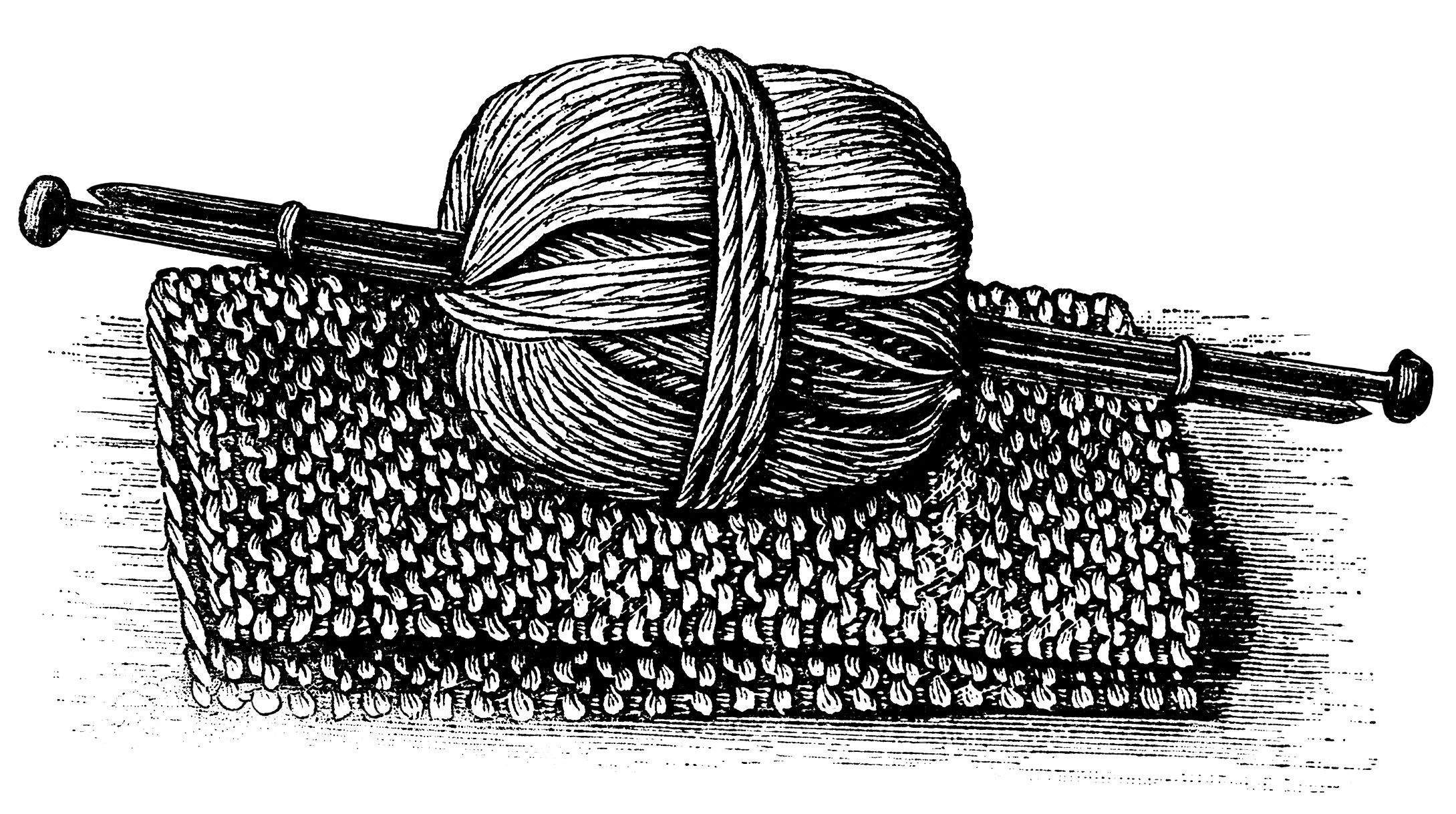Yarn clipart knitting sewing. Black and white graphics