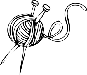 Yarn clipart vector. Knitting needles