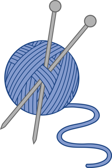 Knitting vector knit. Blue yarn and needles