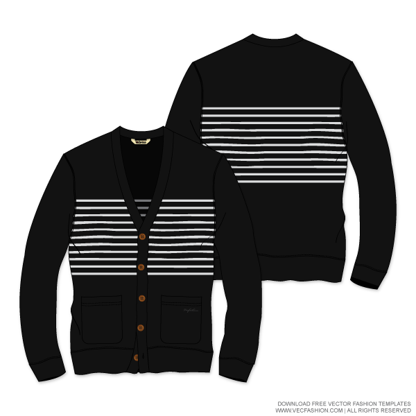 Striped vector template. Mens cardigan sweater mensstripedcardigansweatervectortemplate