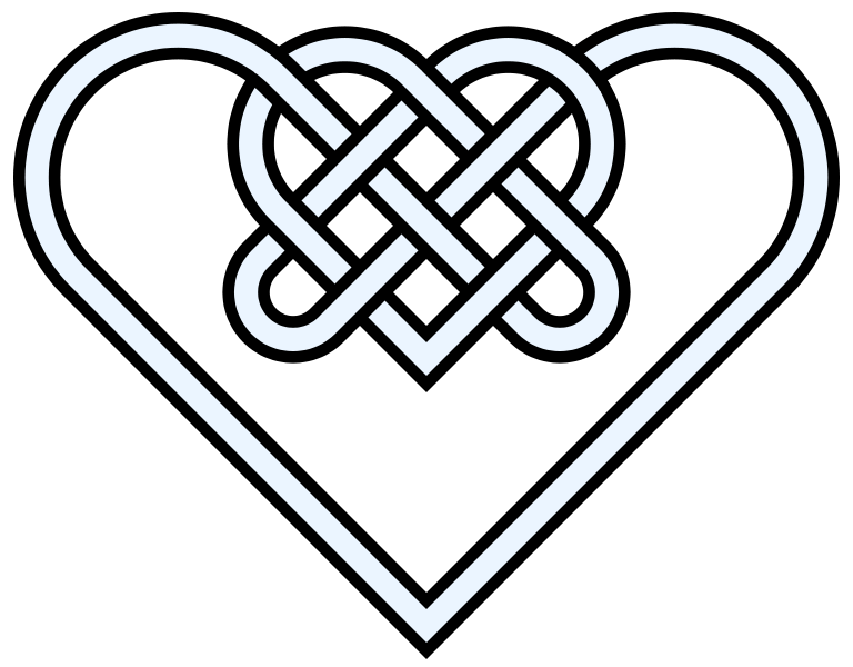 Drawing knots ink. File double heart knot