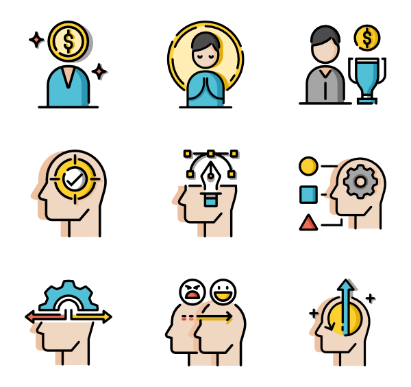 Knowledge vector. Icons free life skills