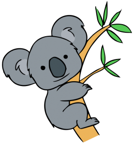 Australian drawing koala. Free clip art forest