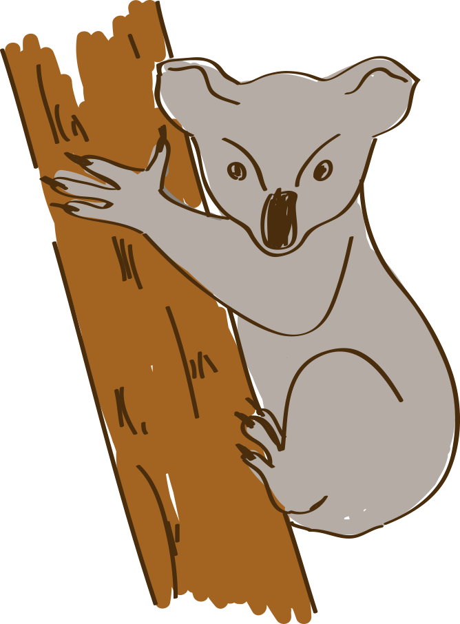 Koala hand png. Australia cartoon painted handpainted