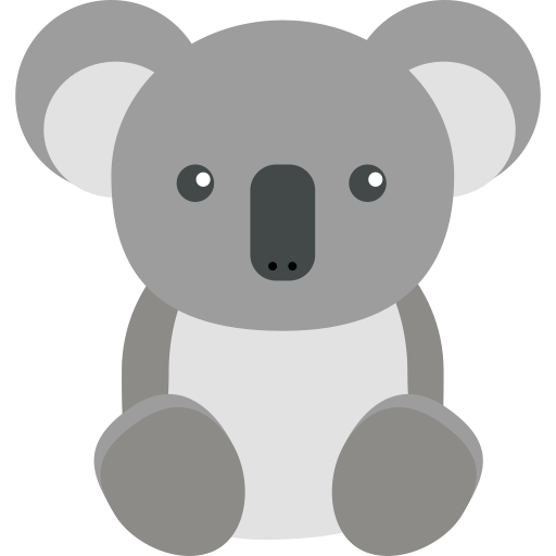 Koala hand png. Flat icon and vector