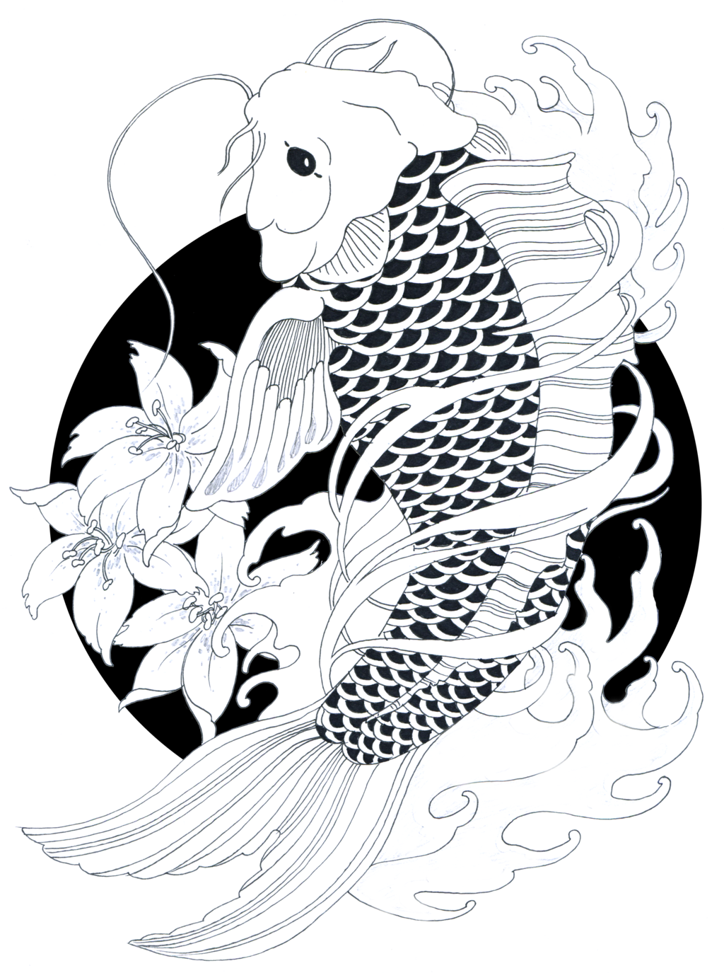 carp drawing tattoo