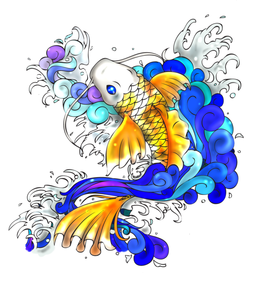Koi fish tattoo png. By moonlit memories on