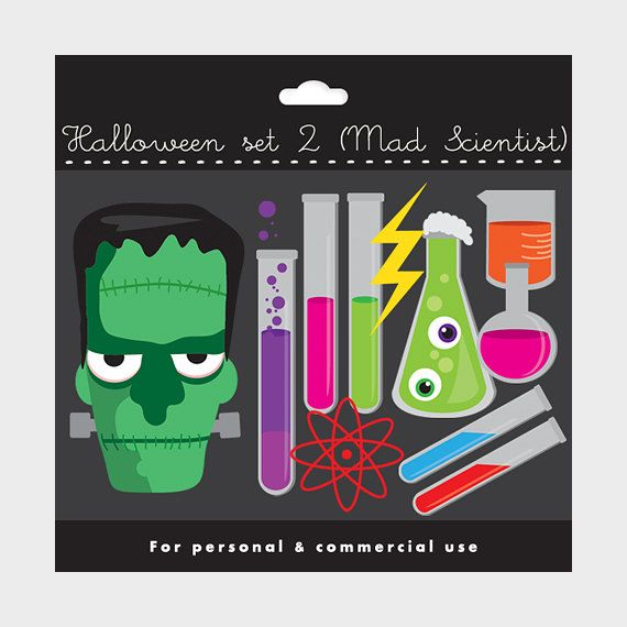 Lab clipart frankenstein. Halloween set mad scientist