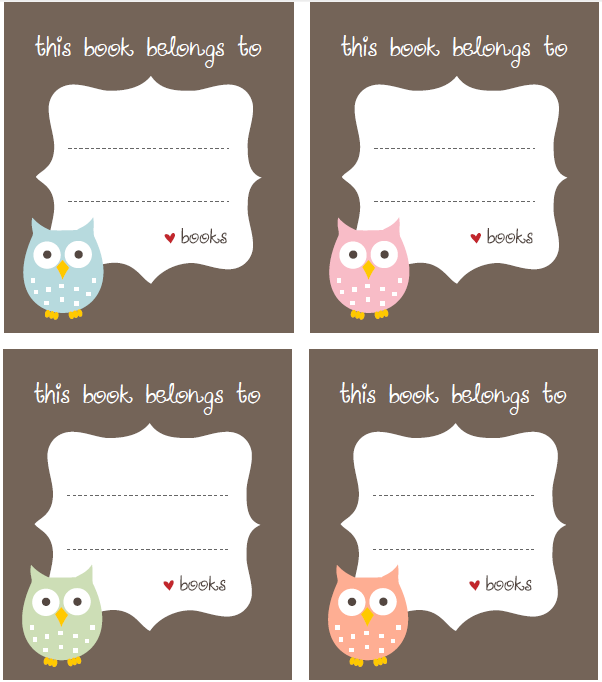 Label clipart book. Free bookplate template printable