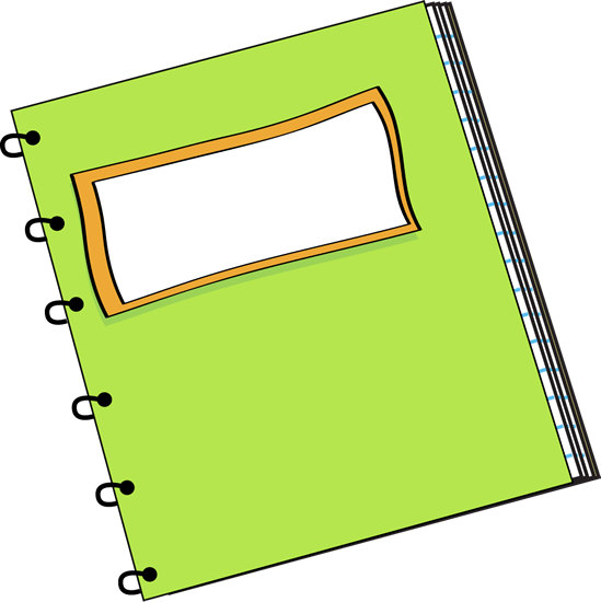 Label clipart school label. Green notebook with a
