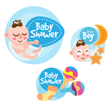 Baby shower boy png. Paper tag vectors psd