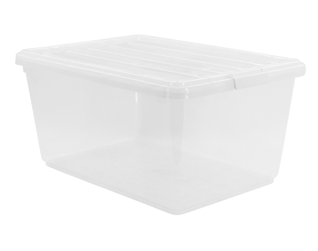Labels clip storage bin. Plastic lid with clear