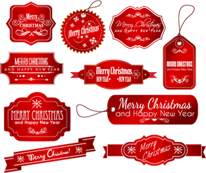 Labels vector. Christmas logo ai free