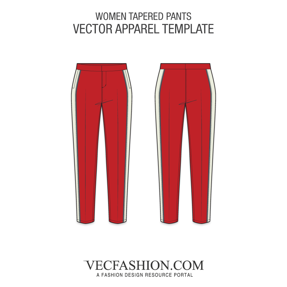Vector roof striped. Shorts bottoms vecfashion womentaperedpantstemplate