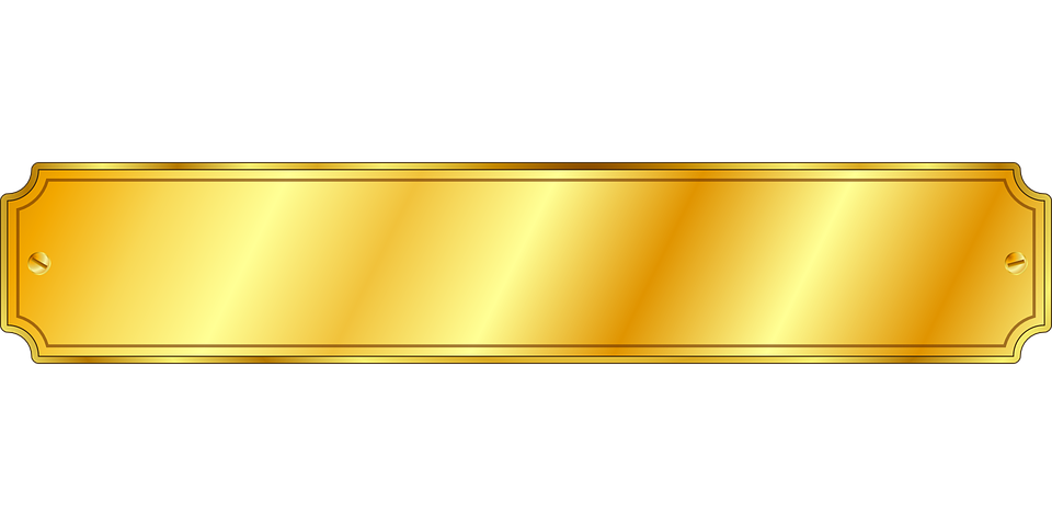 Gold name plate png. E image