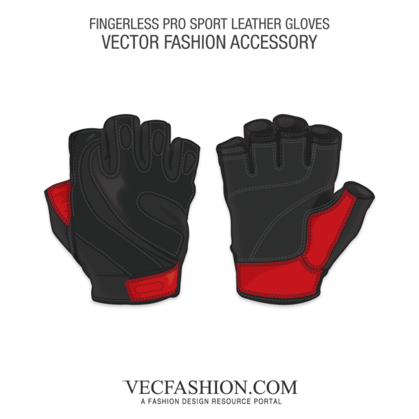 Leather vector red. Fingerless pro sport gloves