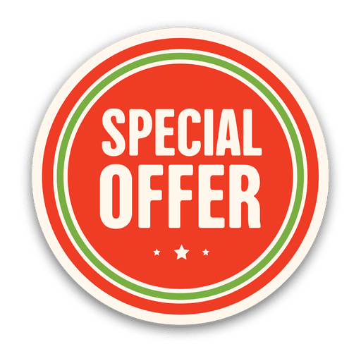 Vector pricing special. Red offer badge transparent