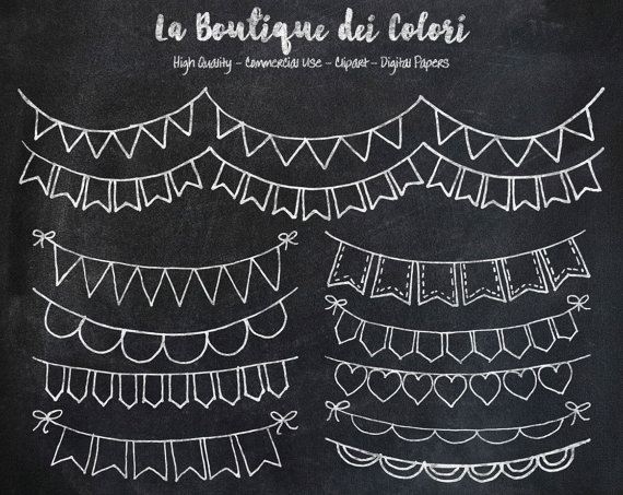 Lace clipart bunting. Chalkboard banners doodle cliparts