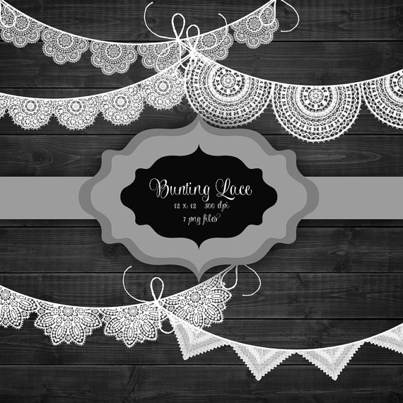 Lace clipart bunting. Banner digital authentic doily