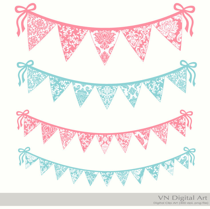 Lace clipart bunting. Pencil and in color
