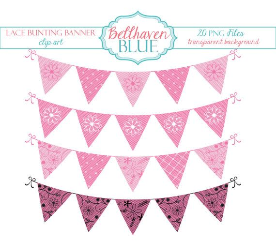 Lace clipart bunting. Pink banner clip art