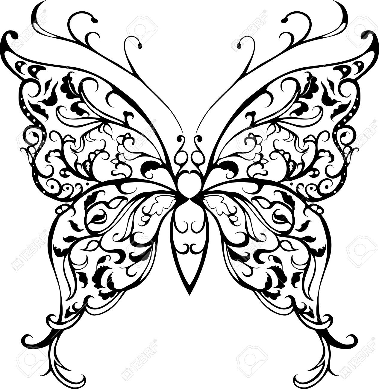 Lace clipart butterfly. Pattern decorative black on