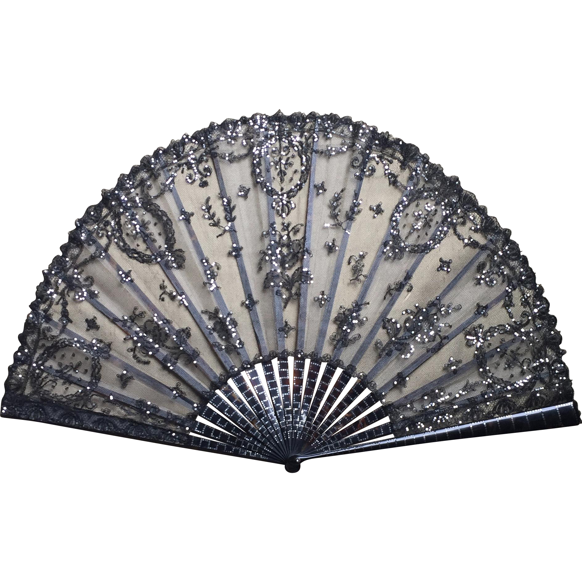 Lace clipart fan. Antique victorian black tulle