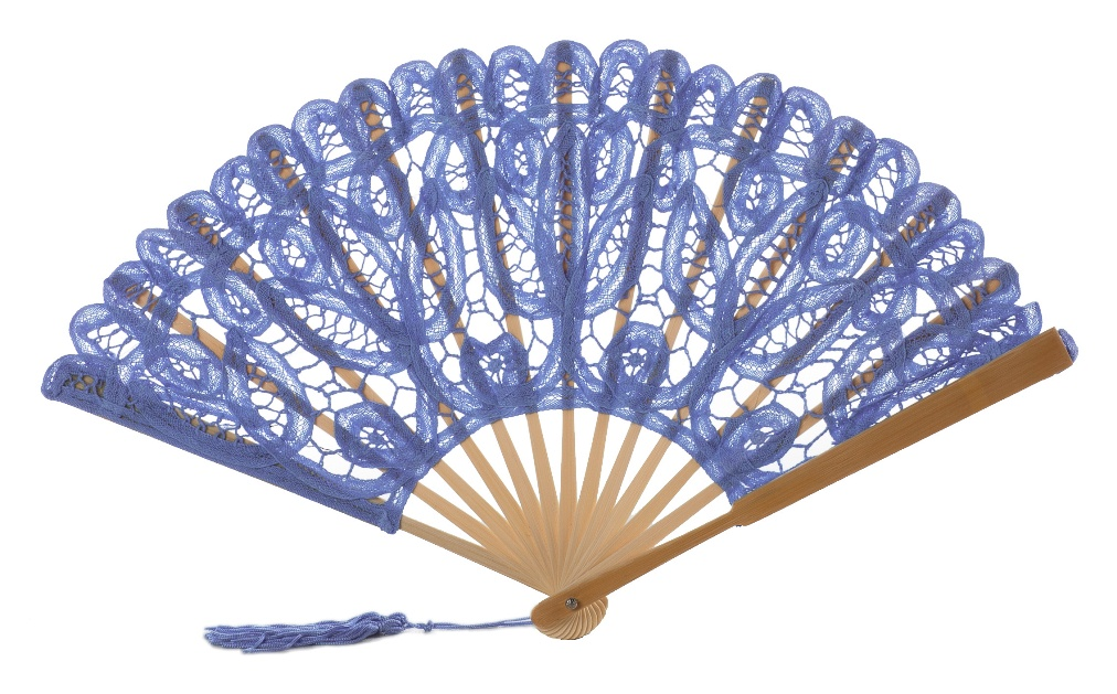 Lace clipart fan. Blue handmade cotton
