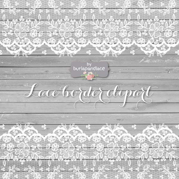 Lace clipart grey lace. Wedding invitation rustic border