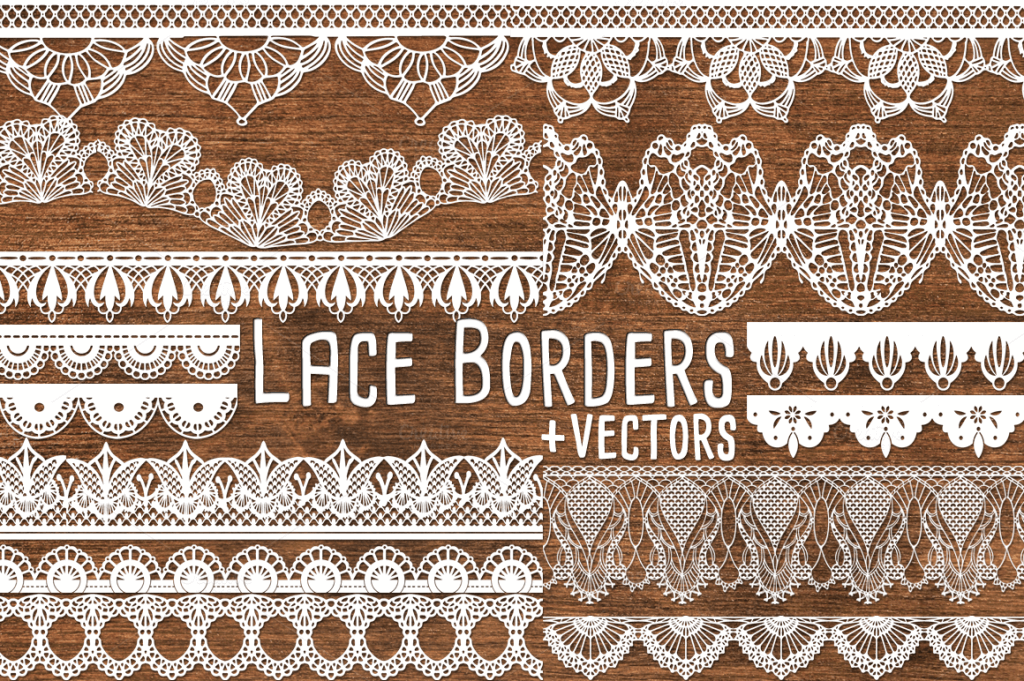 Lace clipart lace print. Vector borders dividers