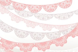 Lace clipart pink lace. Banner beige white illustrations