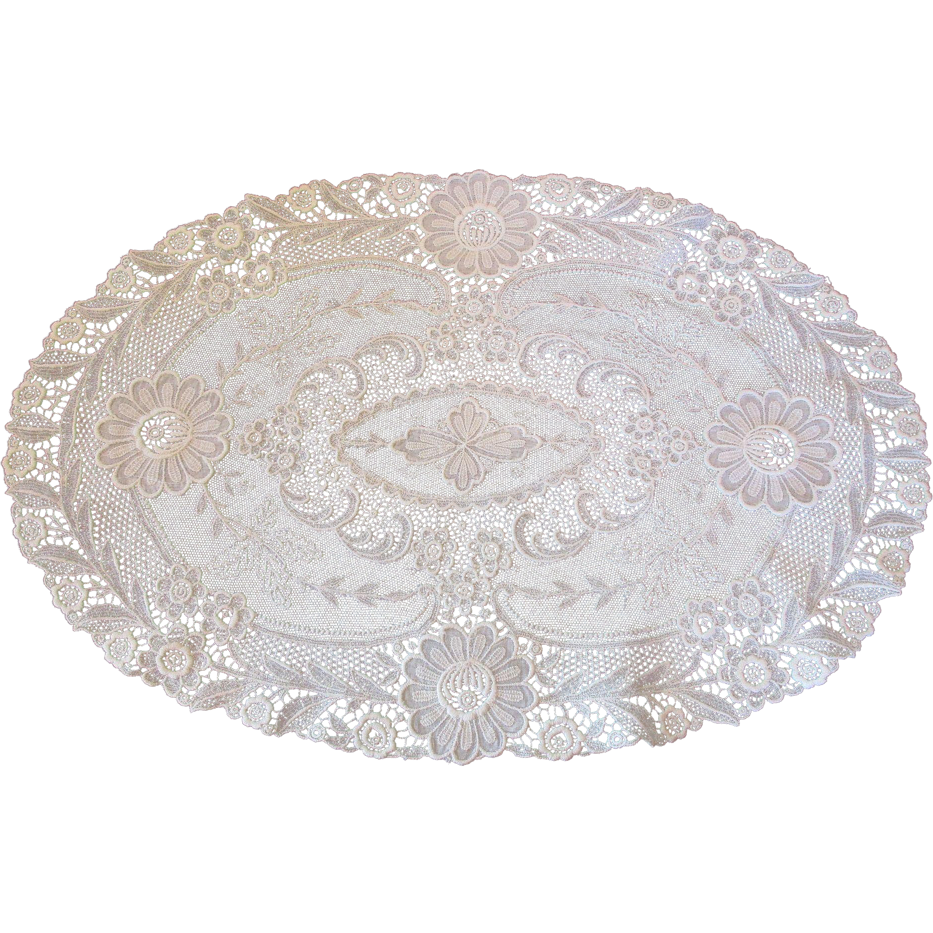 Doily transparent 10 inch. Large vintage oval lace