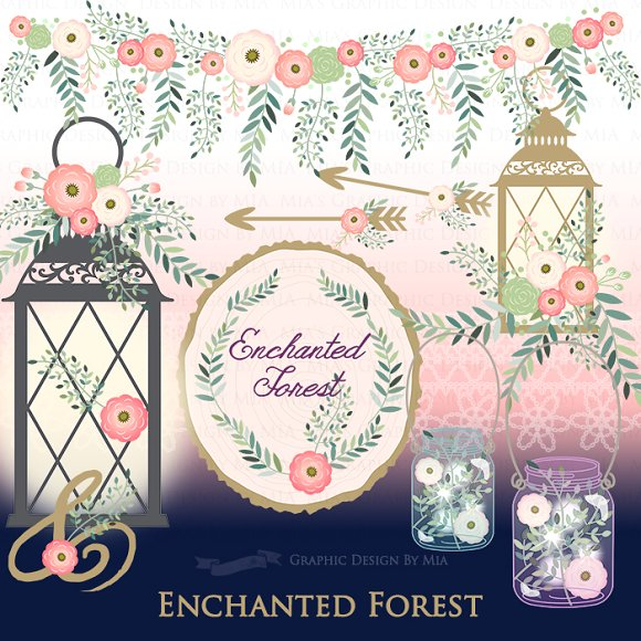 Laces clipart enchanted forest. Pattern set illustrations creative
