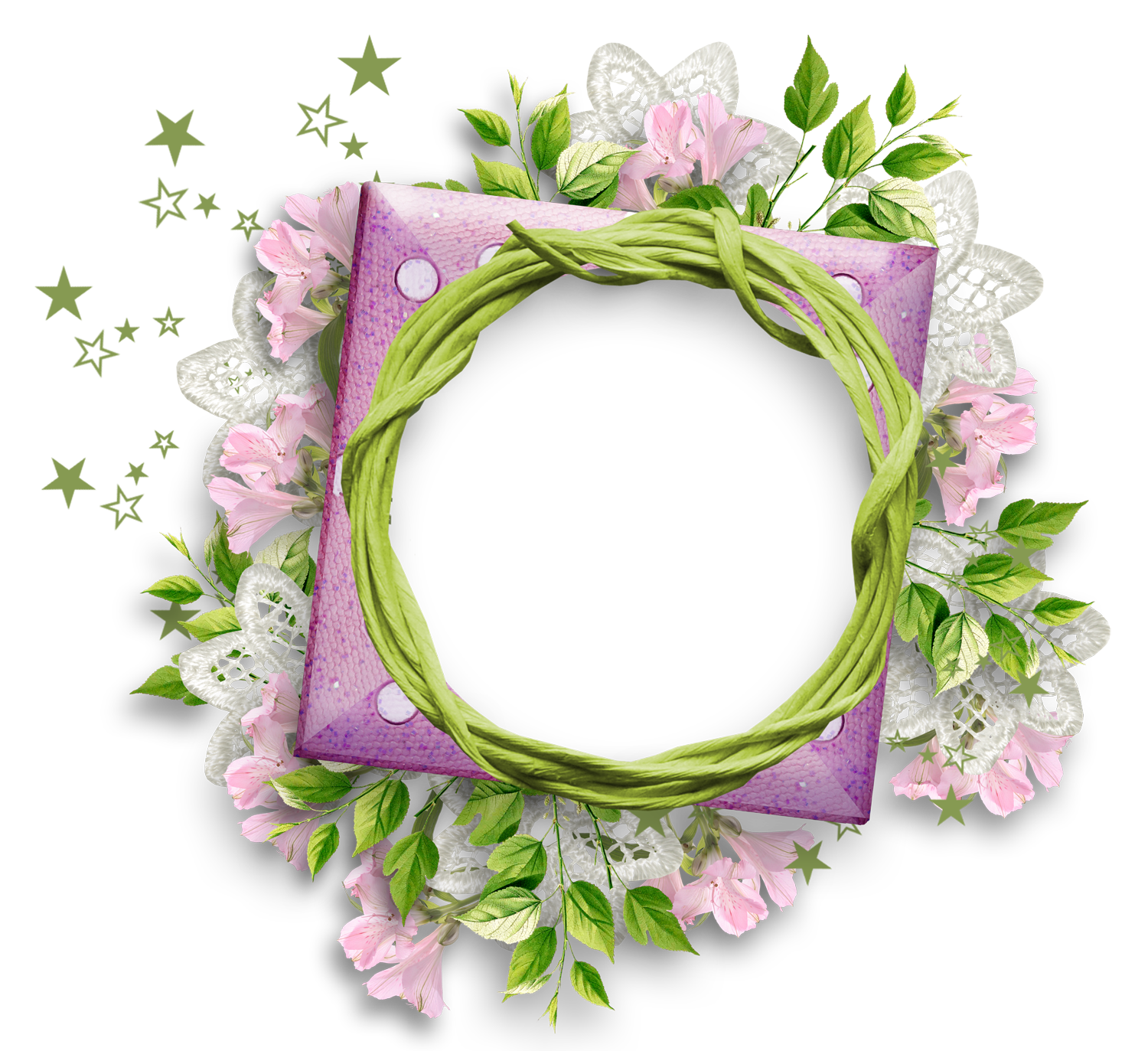 Laces clipart wreath. Purple frame with flowers