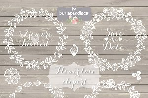 Laces clipart wreath. Rustic lace wedding illustrations