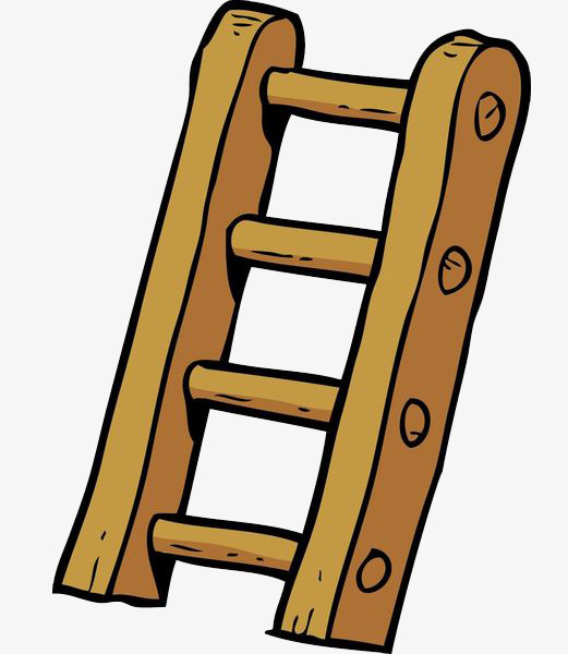 Ladder clipart. Cartoon wooden stairs png