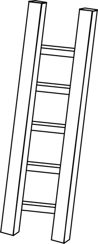 Ladder clipart long object. Black and white