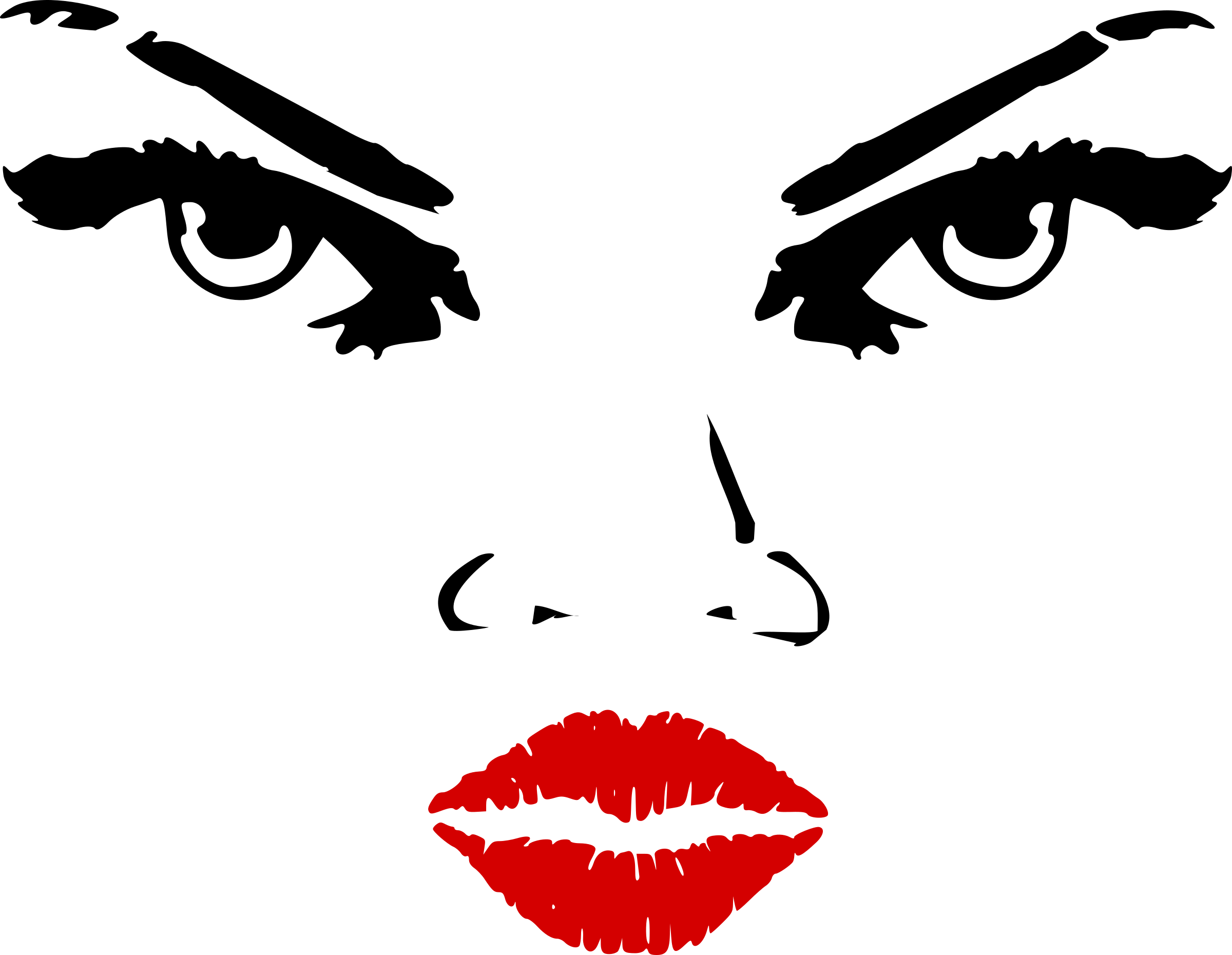 Lady clipart eyes. Woman nose lips big