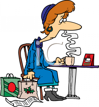 Shopping clipart xmas. Tired old lady