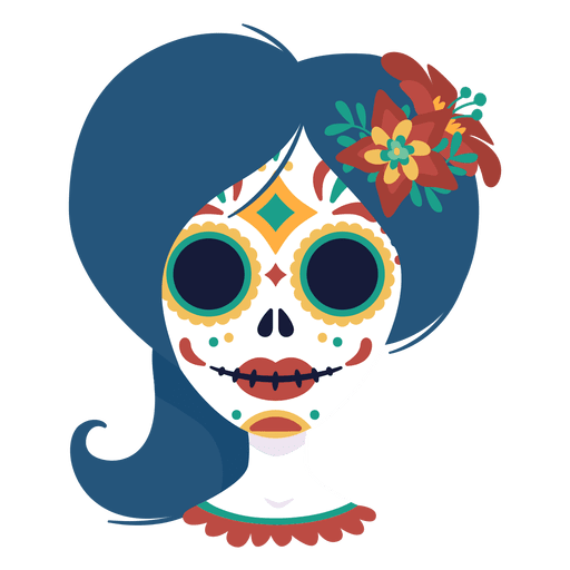 Vector skeleton day the dead. Hipster girl cartoon character