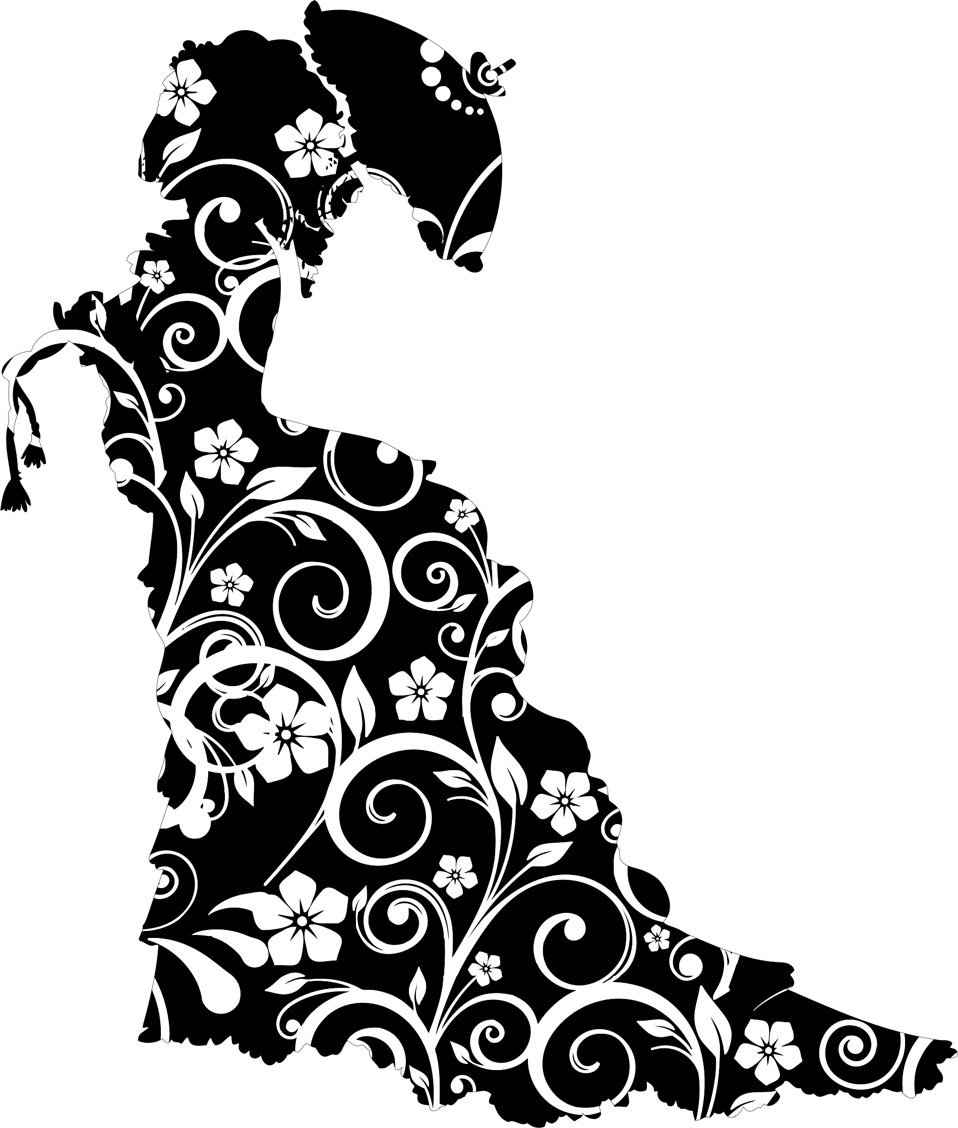 Lady vector floral. Vintage victorian silhouette icons