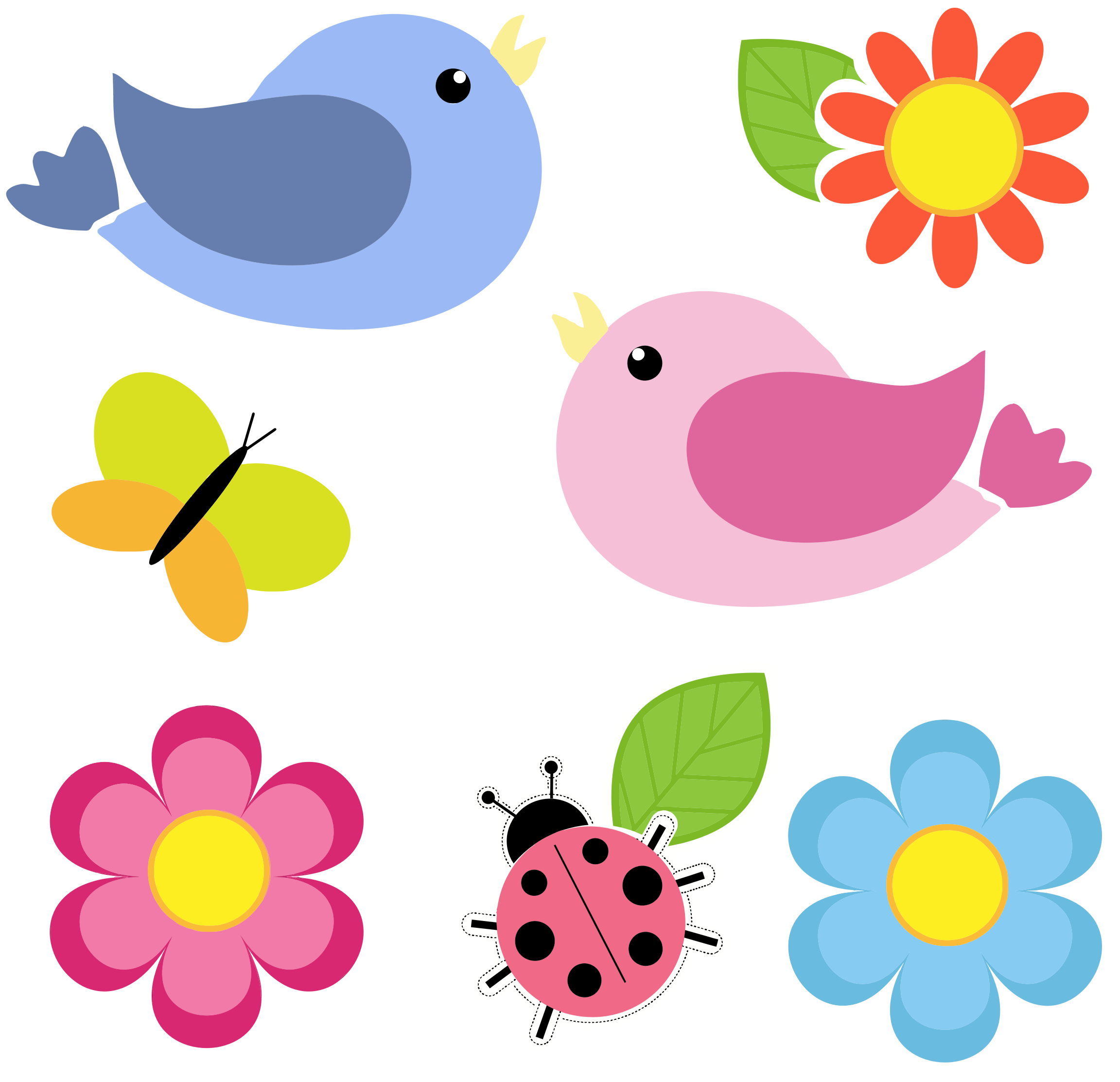 Birds clipart flower. Butterfly ladybug and flowers