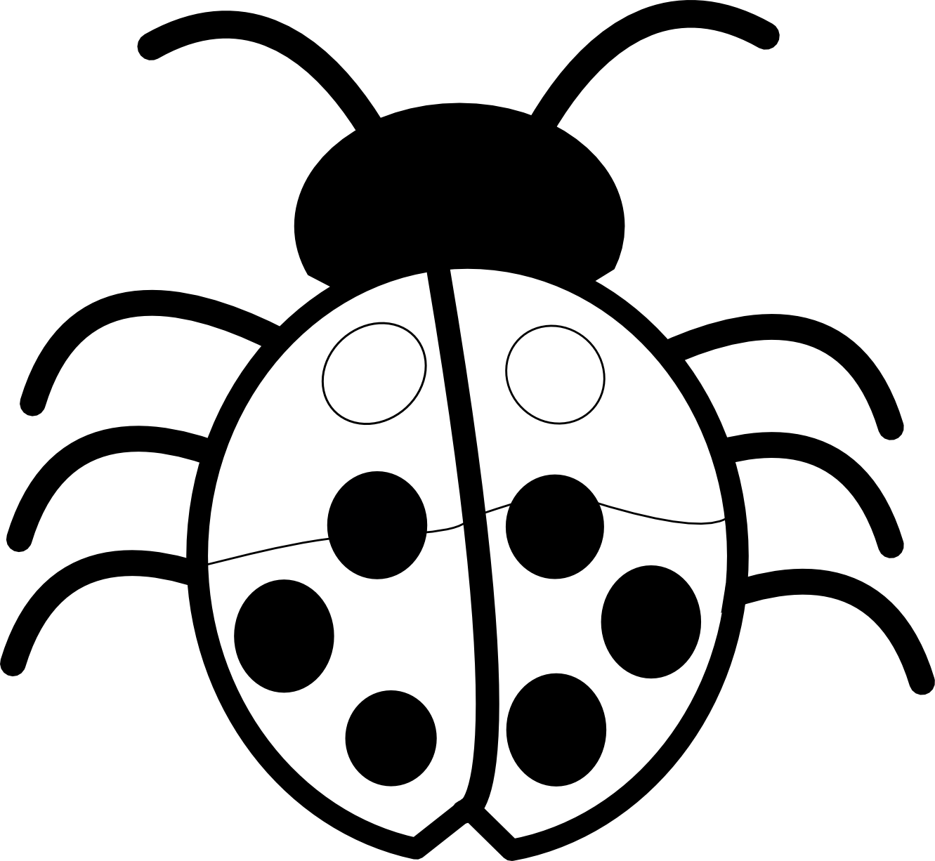 Top drawing black and white. Free ladybug outline download