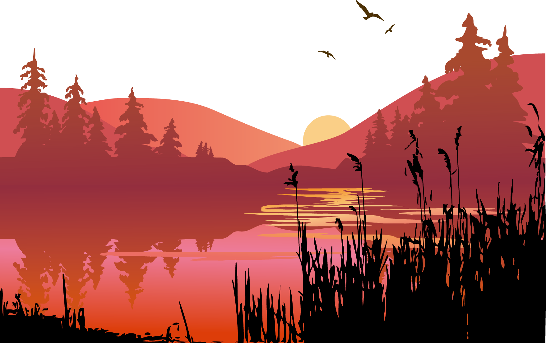 Sunset clip art transprent. Vector lake jpg transparent download