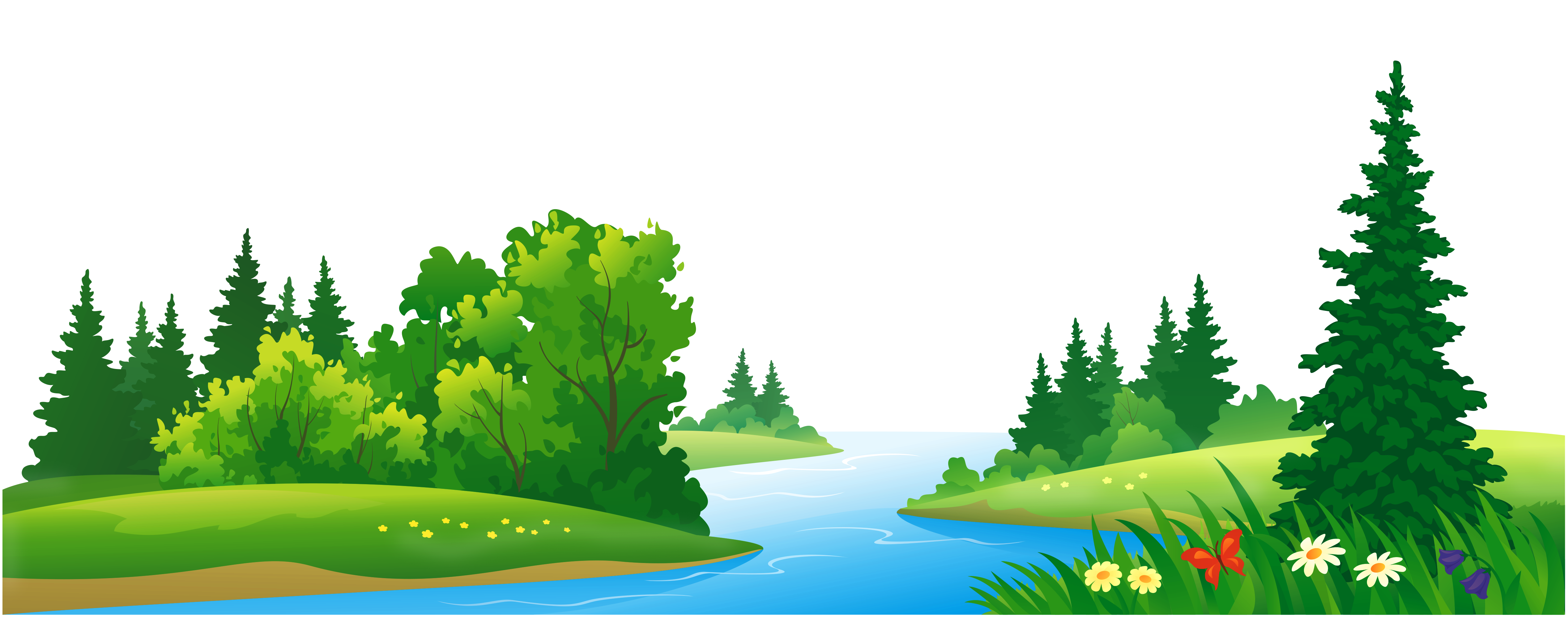 Grass lake and trees. Forest clipart graphic freeuse library