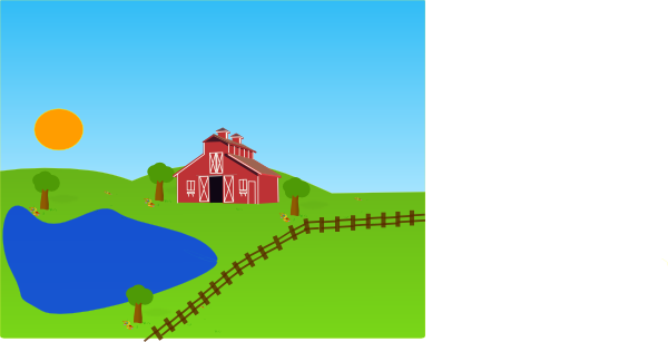 farm clipart sunset