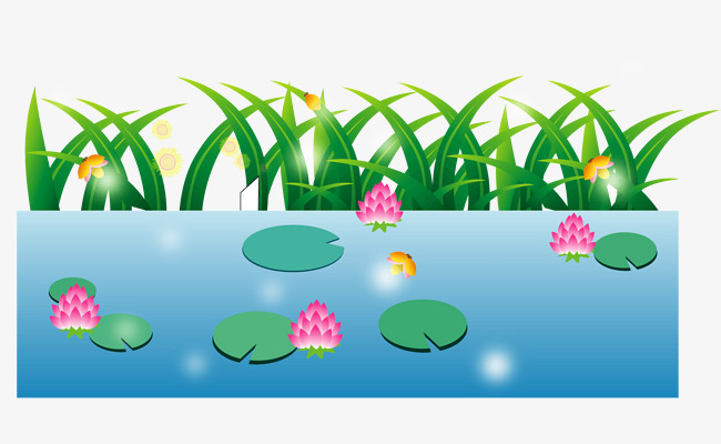 Lake clipart pond plant. Water by the cartoon