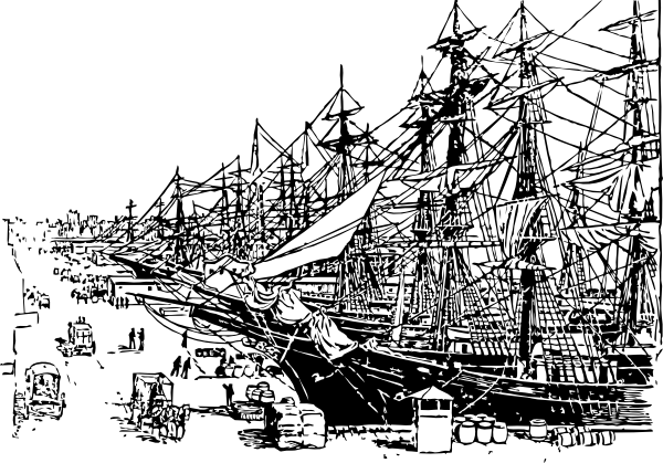 Port drawing ship dock. Free cliparts download clip