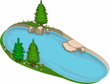 Lake transparent. Collection of clipart