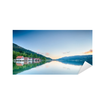 Lake transparent summer. Reflections alpsee germany sticker